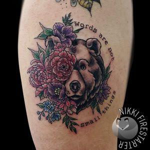 Words are not small things... . . . . #bear #BearTattoo #VintageColors #ColorTattoo #flowers #floral #FlowerTattoo #tattoos #BodyArt #BodyMod #modification #ink #art #QueerArtist #QueerTattooist #MnArtist #MnTattoo #VisualArt #TattooArt #TattooDesign #TheTattooedLady #TattooedLadyMN #NikkiFirestarter #FirestarterTattoos #firestarter #MinnesotaTattoo