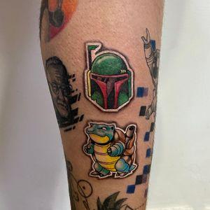 Sticker tattoos 💚  #blastoise #bobafett #starwars #pokemon #sticker