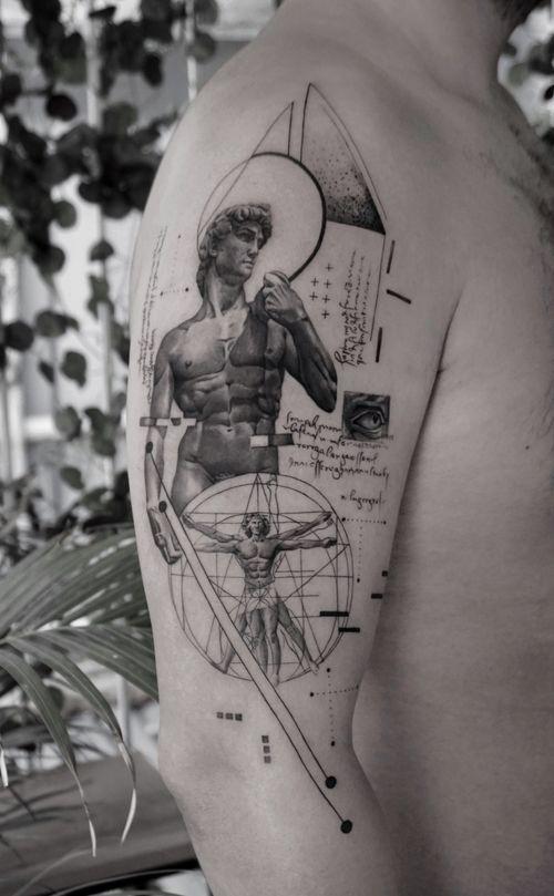 David • • Sponsored by @eztattooing @panormostattoo  @tattoobull.lab #vselect #vselectcartridges  #tattoo #art #history #lion #statue #composition #bodyart #davinci #esquisse #blackandgreytattoo #black #ink #inkstinctsubmission ##blackwork #tatts #inkedmag #tattooist #artist #sametyamantattoos #tattoodo #design #tattoodesigner