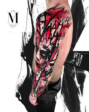 Full sleeve tattoo, a joker's representation in Avantgarde style by Abel Miranda