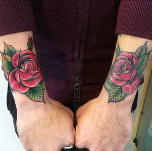 Fresh and healed roses #rose #roses #rosestattoo #neotraditionalrose
