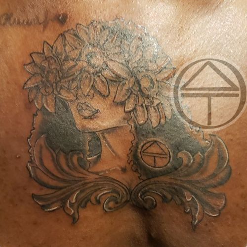 Sunflower goddess. #AngelTaylorTattoos #AngelTaylorCustom #BrooklynTattooArtist #WomanTattooArtist #BlackTattooArtist