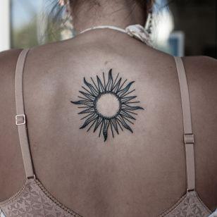 Sun tattoo by Migdy #Migdy #illustrative #linework #fineline #blackwork #sun #minimal #backtattoo