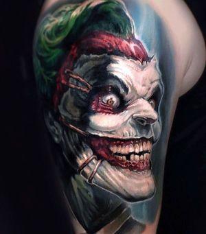 Joker Tattoo #jokertattoo #joker #londontattoo #fantasytattoo #realismtattoo #uktattoo #comictattoo