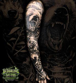 Bear, Owl and Wolf Arm Sleeve