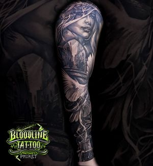 Woman, Dove and Old Town Arm Sleeve