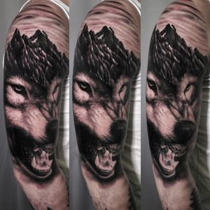 #wolf #wolftattoo #mountaintattoo #blackngrey #blackngreytattoo #inkart #shouldertattoo