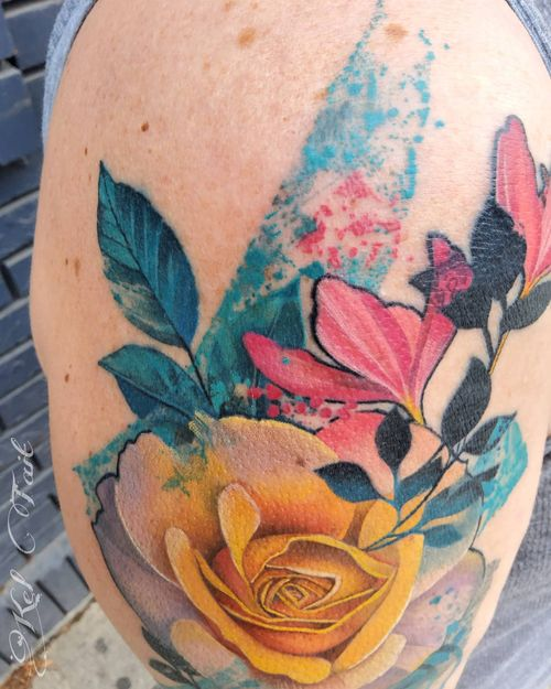 #watercolor #watercolortattoo #rose #rosetatoo  #pnwtattoo #portlandtattoo  #corvallis  #oregontattooartist