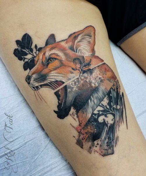 Abstract watercolor fox tattoo #foxtattoo  #fox  #watercolortattoo #pnwtattoo  #portlandtattooer  #corvallis  #oregon