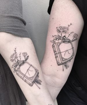 Matching fineline book tattoos for penpals