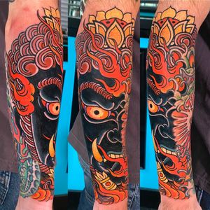 Large Fudo Myo-o & flames on forearm