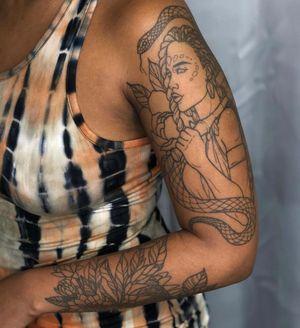Healed sleeve by Saga Maria Art #SagaMariaArt #illustrative #portrait #lady #florals #plant #nature #snake #tattoosondarkskin #darkskintattoo