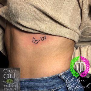 Butterflies. 🦋 #tinytattoo #butterfly #butterflytattoo #butterflies #butterfliestattoo #ribtattoo #smalltattoo #cutetattoo #girlytattoo #tattoosforwomen #simpletattoo #lineworktattoo #linework #fineline