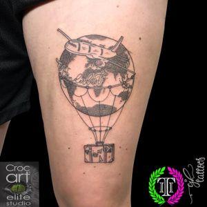Wanderlust. #tattoo #wanderlust #dotwork #dotworktattoo #worldtattoo #planetattoo #traveltattoo #blackwork