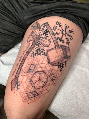 Nordic tattoo 🔥 Custom piece 🔥 #tattoo#ink#fineline#geometry#sacredgeometry#geometrictattoo#abstracttattoo#thebesttattooartist#thebestlines#perfectlines#blackwork#dotwork#delicate#inspiration#linework#tattoodesign#cheyennetattooequipment#equilattera#omfgeometry#geometrip#womantattoo#fibonacci #cutetattoo #thortattoo #marveltattoo #geektattoo #nordictattoo