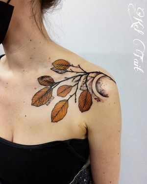 """Copper Beech leaves from my """"found collection"""" . #leaftattoo  #leavestattoo #fallleaves #botanicaltattoo #watercolortattoo"""