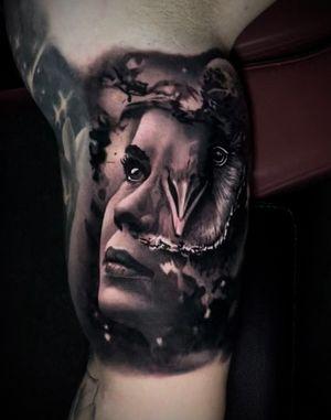 Goddess Athena #athena #realism #surrealism #blackandgray #portrait #owl