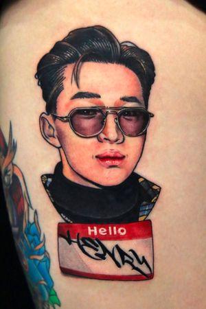 K-pop star Henry portrait tattoo