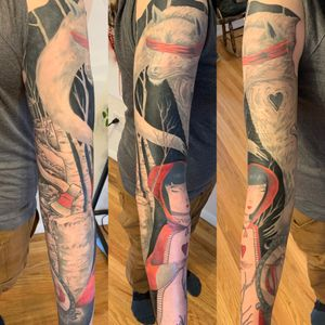Little red riding hood sleeve faded in a local artists painting
