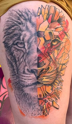 A lion in two styles