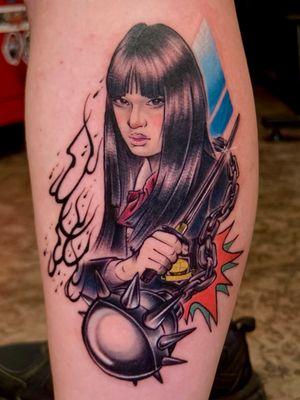 New school portrait tattoo.