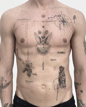 Maps to the true self #singleneedletattoo #tattoo #chesttattoo #chestpiece #ribstattoo #singleneedle #blacktattoo