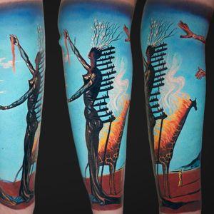 Half sleeve based on Dali's Burning Giraffe, 3 sessions