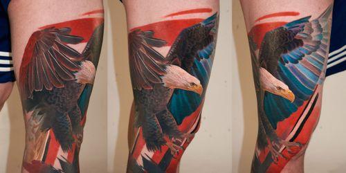 leg sleeve in progress, 3 sessions