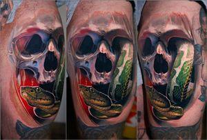 green boa snake&skull, 2 days in a row