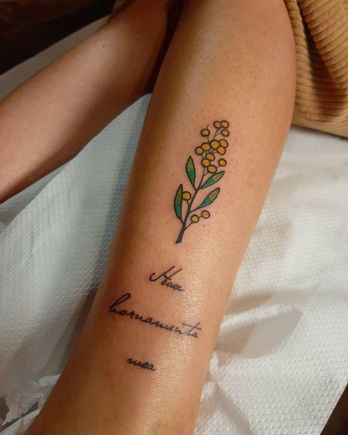 Color Mosaic Tattoo, mimosa