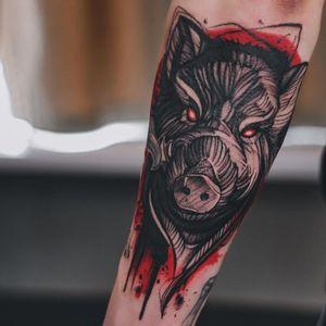 The work took 7 hours. #tattoodrawing #tattoographic #boartattoo #animalstattoo #estoniatattooartist