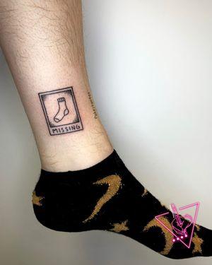 Hand-poke Missing Sock Tattoo by Pokeyhontas @ KTREW Tattoo - Birmingham, UK #handpoke #handpokedtattoo #birmingham #stickandpoketattoo #tattoo #tattoos #ankletattoo
