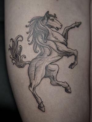 engraving horse tattoo by Ruslan