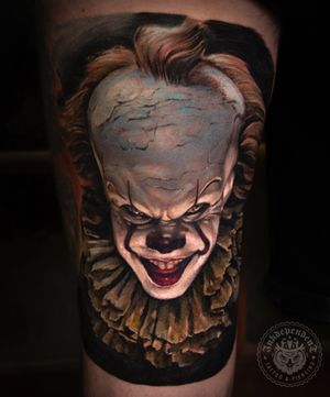 """""""It"""" horror clown tattoo by Charlie Lame"""