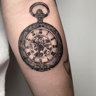 Tattoo by Deven Brodersen #DevenBrodersen #illustrative #fineline #singleneedle #watch #vintage #clock #pocketwatch