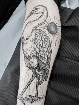 Stork. 🌑 #blacktattooart