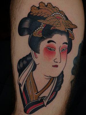 Tattoo by Sven Anholt #SvenAnholt #Anholttattoo #Benzaiten #Saraswati #deity #goddess #bird #crown #japanese