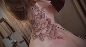 #peony #floraltattoo #sacredgeometry #fineline #necktattoo