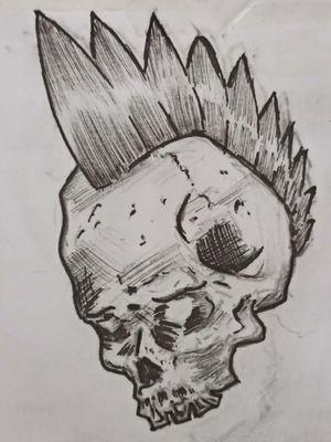 Punk Skull #tattoosketch #sketch #punk #punk'snotdead #punkskull #penwork #ink #inked #inkmag