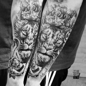 """""""King Lion with rose"""" - One more part of Jeff's arm - To be continued... ▪ #тату #лев #trigram #tattoo #lion #inkedsense"""