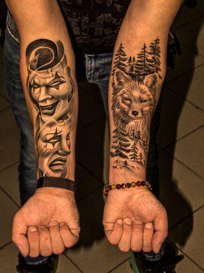 #tattoomasks #chicanotattoos #foxtattoos #masks #animaltattoos #foresttattoos #forearmtattoos #sleevetattoos #healedtattoos #detailedtattoos