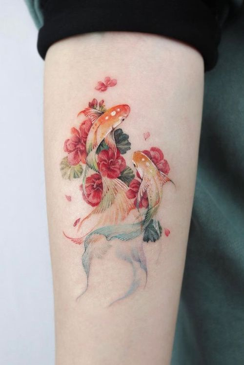 Koi fish and flowers by guest artist Manda