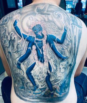 Kali Hindi tattoo full back ongoing work