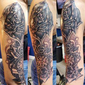Black and grey clock/floral piece w/ revamp of shoulder rose