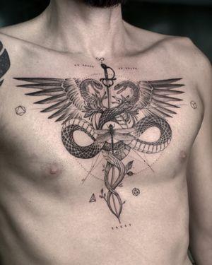 #tattoo #singleneedletattoo #chestattoo #caduceustattoo #snaketattoo #tattooideas #tattoos