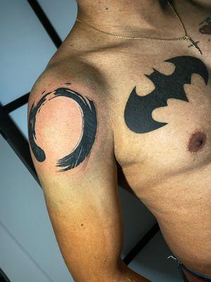 Healed Batman logo French enso circle