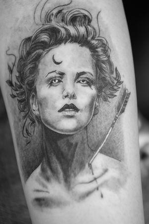 Artemis inspired modern greek goddess  #realism #micro #portrait #artemis #darkart