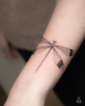 Dragonfly on the arm. #dragonfly #fineline #arm