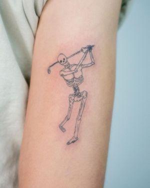 Skeleton golfer 🏌️ #golfer #golftattoos #skeleton #armtattoos #fineline