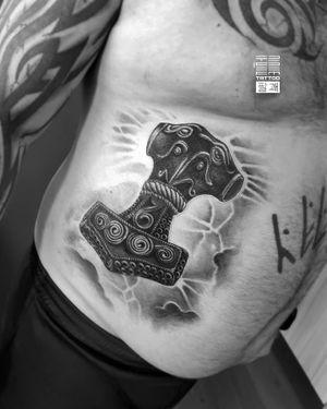 """""""Mjolnir"""" Thor's hammer - One more for Oleg. Here I'm finished as mush as possible that not me started. - #тату #мьельнир #молоттора #trigram #tattoo #mjolnir #thorshammer #inkedsense"""